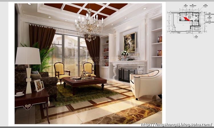 美式奢华联排别墅样板间客厅效果-带有丰富造型和线条层次的体量壁高清图片