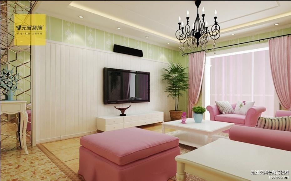 客廳設計說明:電視墻隱形門的設計更整體,客廳大埡口造型的設計美觀
