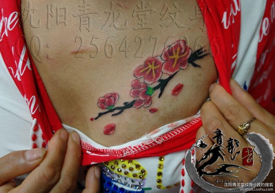 昆明鬼手纹身 锁骨玫瑰花
