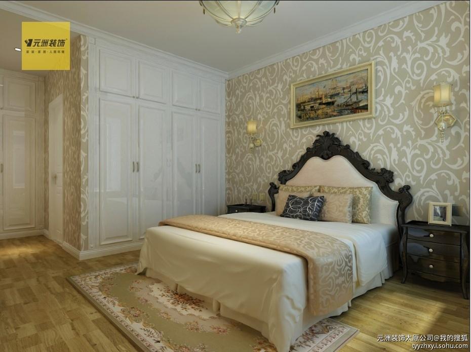 黑色的床头柜与边框让整个空间温馨中不失沉稳宁静的