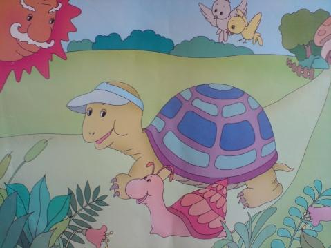 蜗牛赛跑 儿童画
