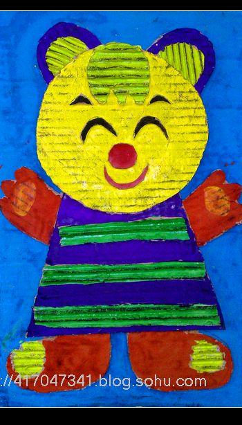 纸板作品-松榆里小学儿童版画-搜狐博客