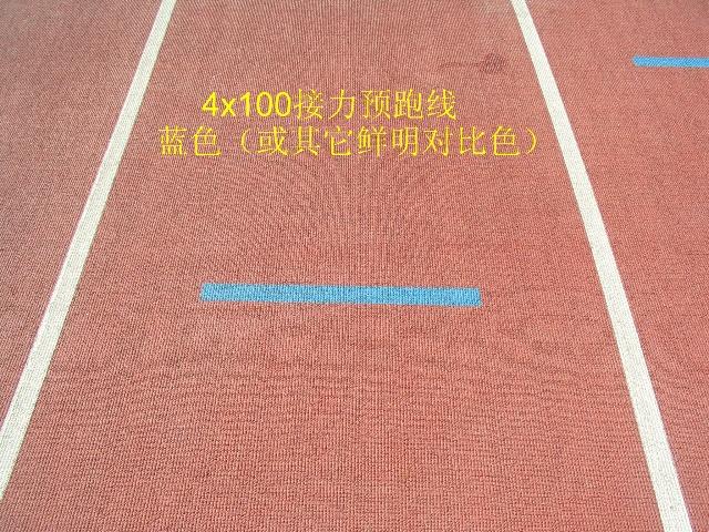 """在《田徑場地設施標準手冊2008》版的""""國際田聯400米標準跑道畫圖片"""