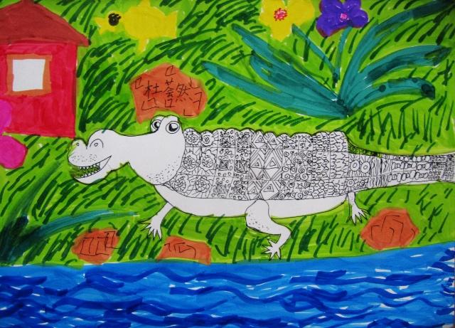 彩笔风景儿童画