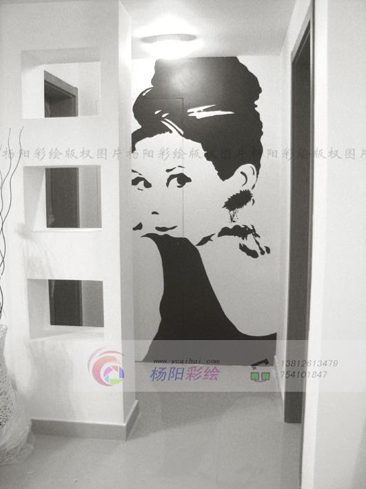 黑白叶子手绘墙