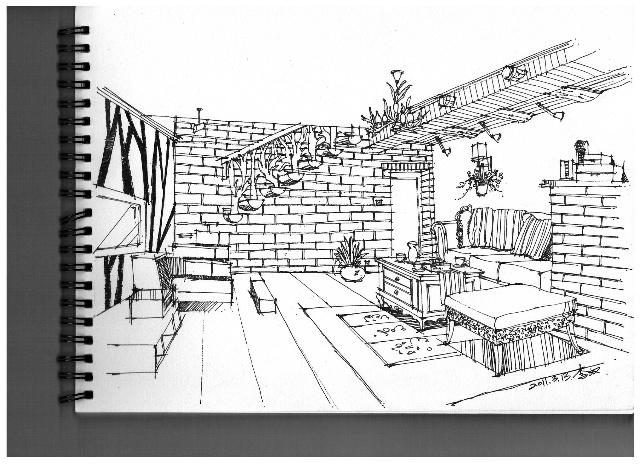 室内设计钢笔手绘图片展示