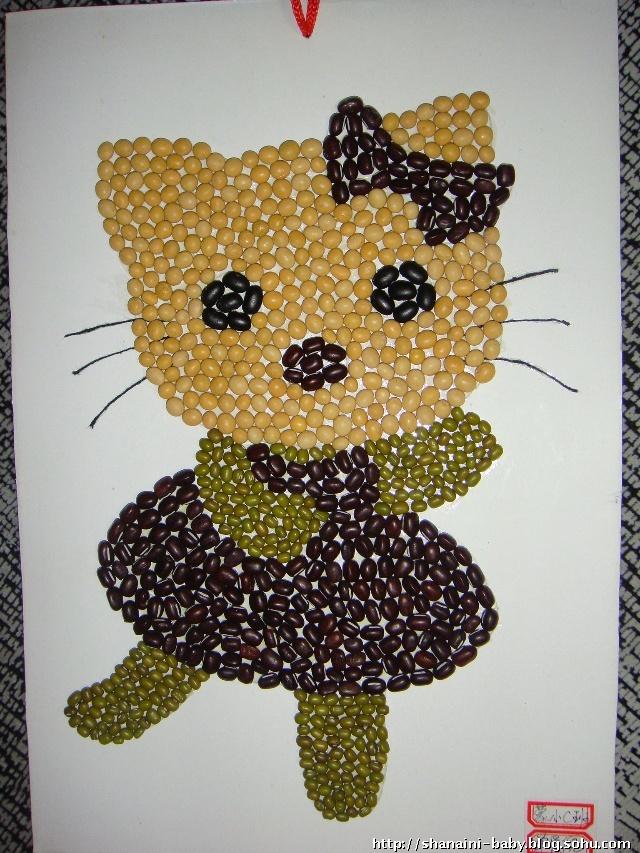 豆子粘贴画风景作品图片-幼儿大米豆子树叶风景粘贴画