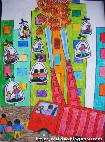 画消防车救火-《高科技灭火场景》 二年级 马 可 画-儿童科幻画