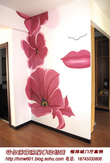 手绘美女 哈尔滨花满屋手绘-哈尔滨花满屋手绘墙画室