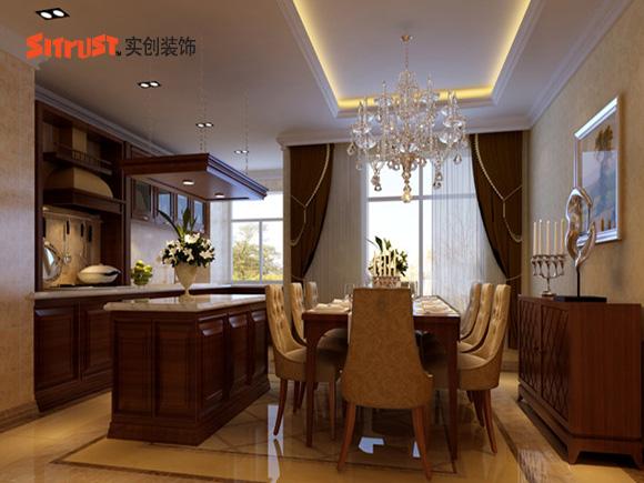 现代简约欧式风格餐厅和厨房