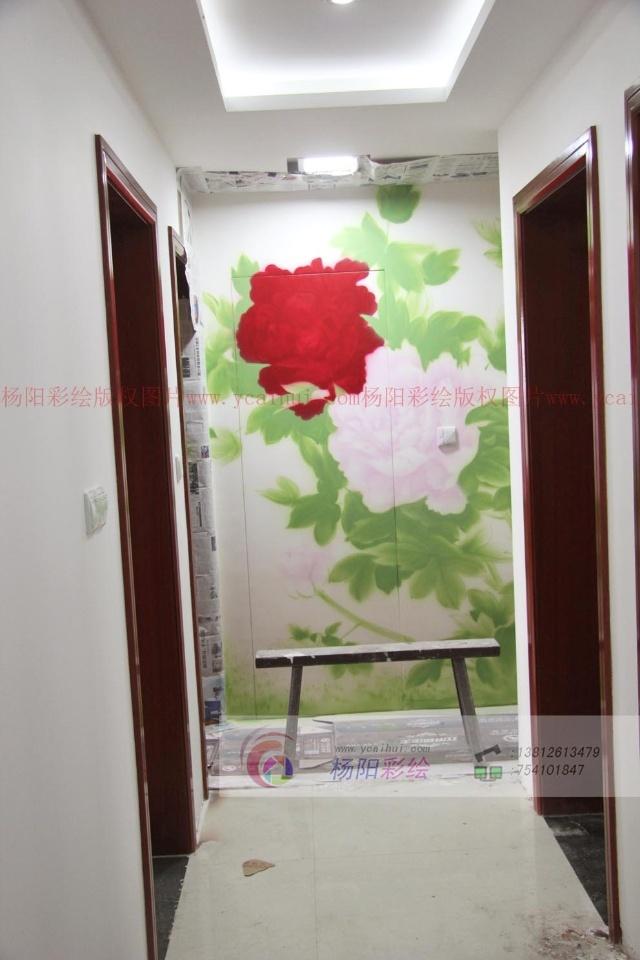 苏州金筑家园手绘墙画-牡丹花(花开富贵)