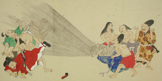 变态的日本浮世绘:放屁大战