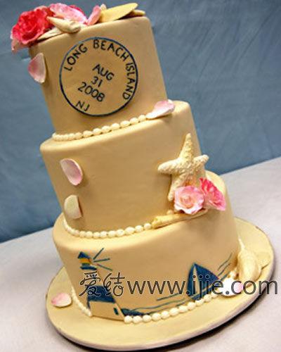 复古海洋主题婚礼蛋糕