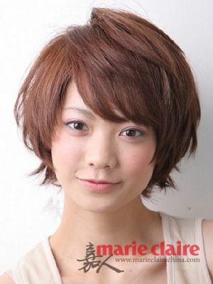 流行指数:★★★★★ 斜刘海修颜短发 修饰脸型问题:长脸,圆脸,宽脸