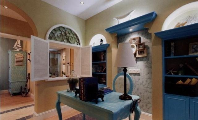 、石膏板吊顶、石膏线、造型书柜、造型窗户、卧室床头背景、壁纸、