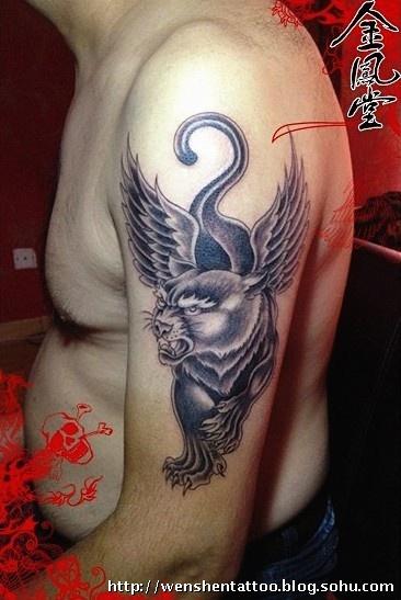 篆体纹身 飞豹纹身 龙纹身图