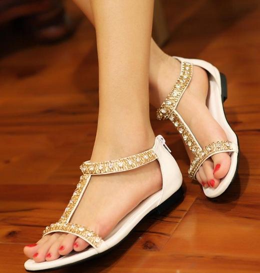 防滑鞋底-罗马风格水钻露趾凉鞋