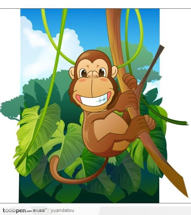 手指游戏:五只小猴子荡秋千