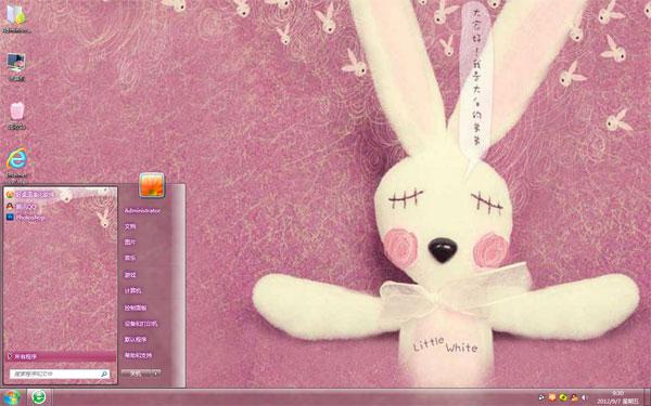 白色布偶兔win7可爱壁纸  主题来源网站:http://www.zhutizhijia.