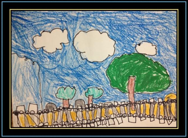 梧桐树下看书儿童画