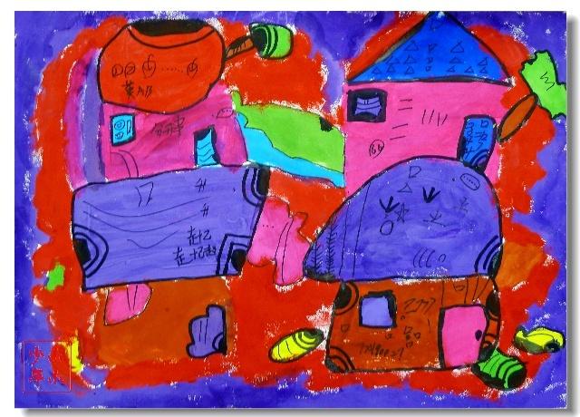主题:水粉画,房子