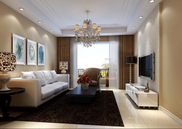 客厅造型吊顶、电视背景墙、顶面石膏顶角线、包立管、垃圾清高清图片