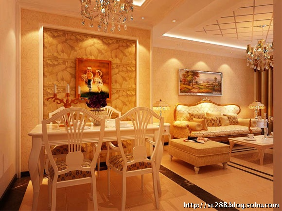 人四季100平两居室欧式装修-实创装饰餐厅设计效果图
