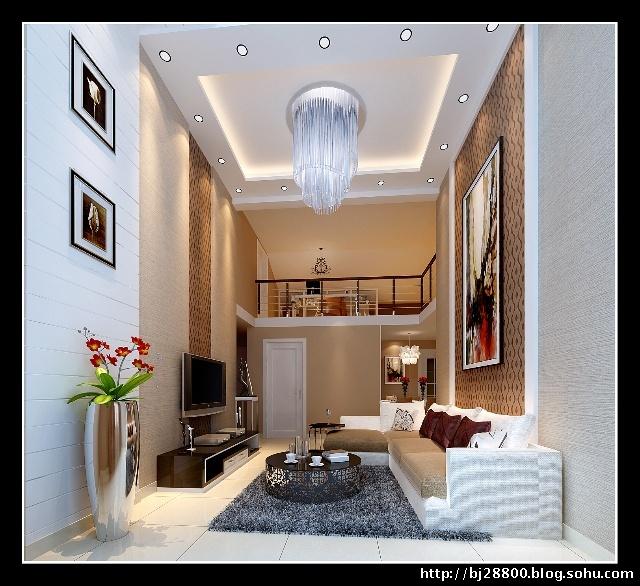 120平三居室简约设计--客厅装修效果图