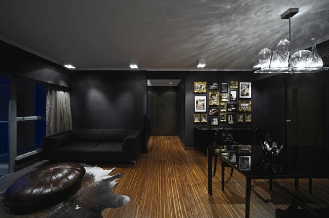Promenade中国香港全黑色现代风格三室家庭房屋装修样板间效果图