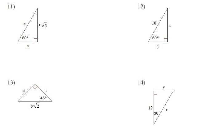 Special Right Triangles - Springleaf Chinese School Math