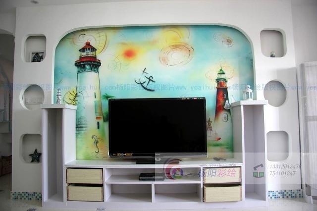 地中海风格手绘灯塔-打造浪漫清新的居室-苏州手绘墙