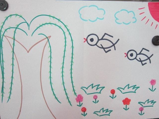 春天来了燕子飞 春天万物复苏 春天的小河边 春天的美丽景象 儿童画