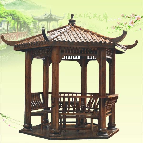柱子为水泥结构上面为琉璃瓦四角凉亭设计图展示图片