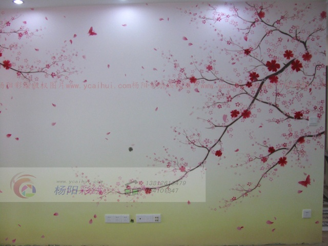 苏州手绘樱花图-浪漫而又温馨的家居-苏州手绘墙