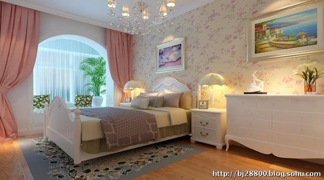 温馨90平两居卧室田园风格装修效果图