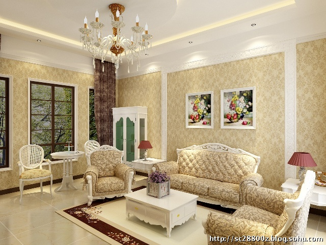 孔雀城200平米歐式別墅案例——客廳設計