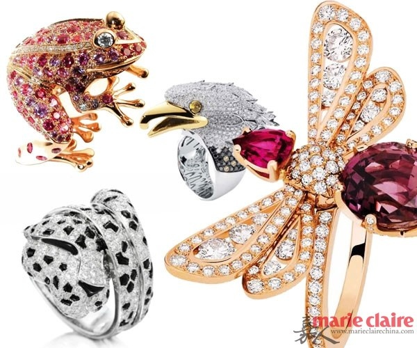 动物珠宝同样栩栩如生,将灵动可爱的动物们制作成精致的珠宝戒指,让奢