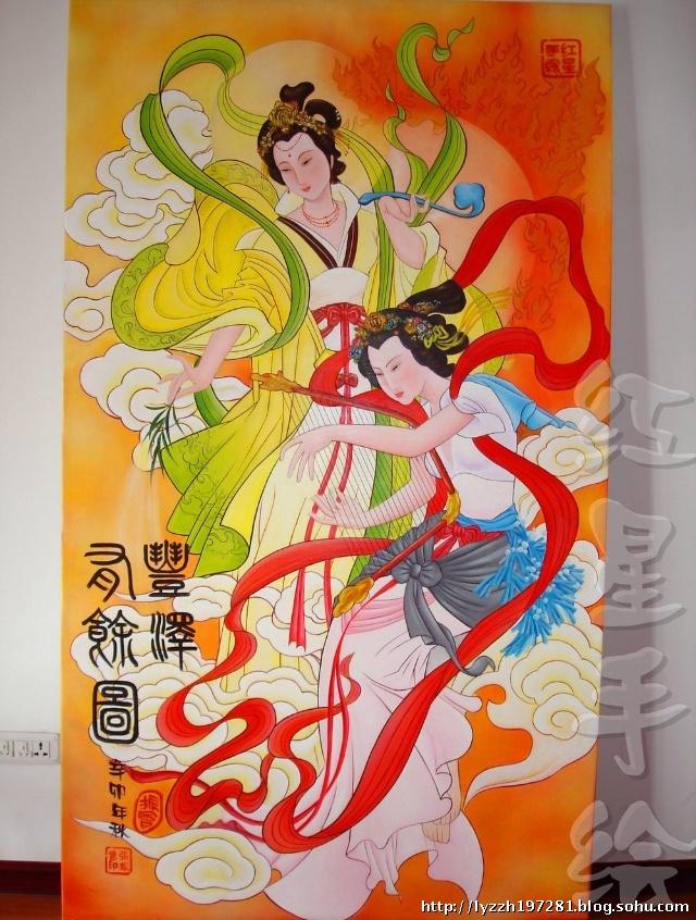 洛阳红星手绘壁画艺术----飞天壁画