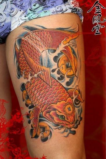 锦鲤铜钱纹身_第2页_纹身图案大全图片分享图片